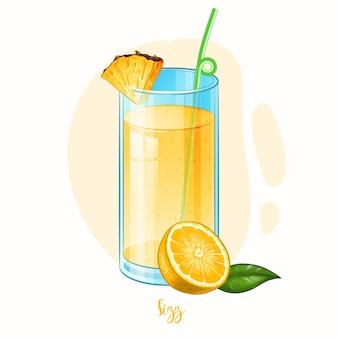 アルコール飲料フィズカクテルの手描きイラスト