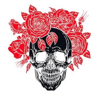 아래턱과 장미 화환이 있는 해부학 인간 두개골의 손으로 그린 그림