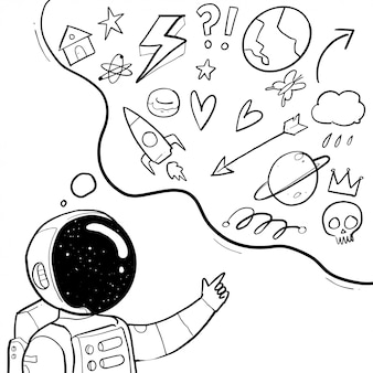 Рисованная иллюстрация космонавта