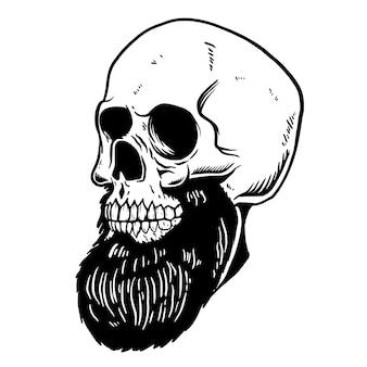 Рисованной иллюстрации бородатого черепа. элемент для плаката, карты, футболки, эмблемы, знака. иллюстрация