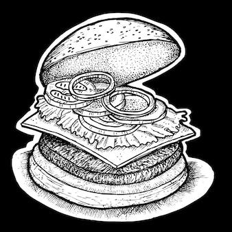 ハンバーガーの手描きイラスト