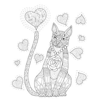 Рисованной иллюстрации кошки и сердца в zentangle стиле