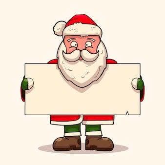 空白のバナーを保持しているクリスマスのキャラクターの手描きイラスト