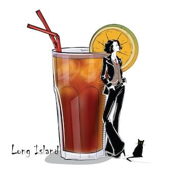 Рисованной иллюстрации коктейля с девушкой. длинный остров. векторная иллюстрация