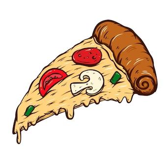 흰색 배경에 고립 된 피자 컷의 손으로 그린 그림. 포스터, 카드, 배너, 티셔츠, 상징, 기호 디자인 요소입니다. 벡터 일러스트 레이 션