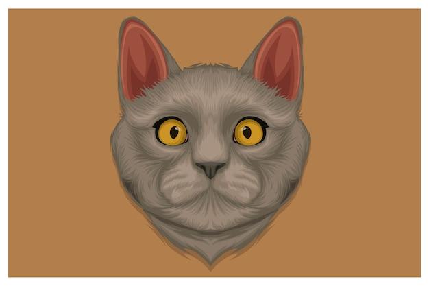 かわいいアンゴラ猫の手描きイラスト