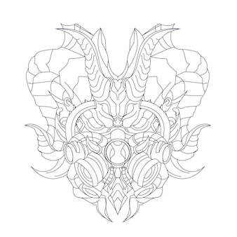 Рисованной иллюстрации маски дракона