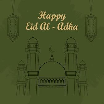 Вручите вычерченную иллюстрацию eid al adha или концепции qurban дней приветствуя на зеленой предпосылке.