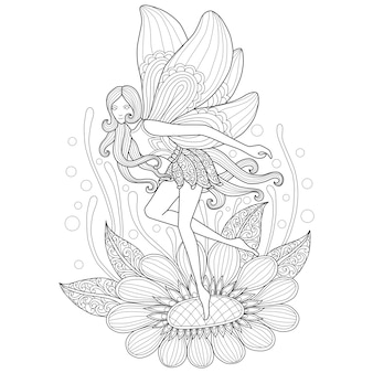 妖精と花の手描きのイラスト