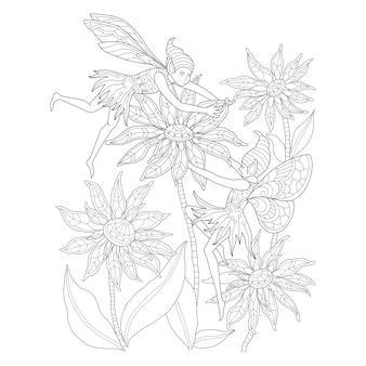 요정과 꽃의 손으로 그린 그림