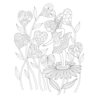 요정과 심장 꽃의 손으로 그린 그림