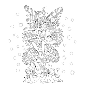 Hand drawn illustration of Fairy in zentangle style