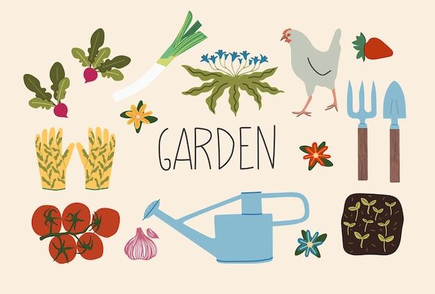평면 스타일의 정원 및 농장 요소의 손으로 그린 그림