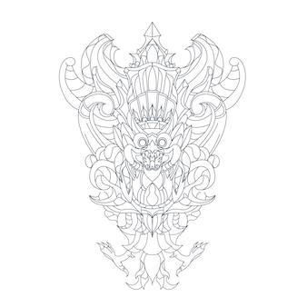ガルーダウィスヌケンカナ文化インドネシアの手描きイラスト