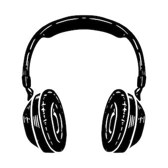 白い背景で隔離のヘッドフォンの手描きイラスト。ポスター、tシャツ、カード、エンブレム、サイン、バッジのデザイン要素。ベクトルイラスト