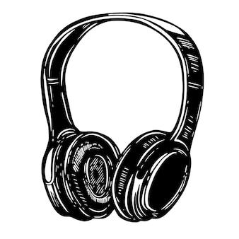 白い背景の上のヘッドフォンの手描きイラスト。ロゴ、ラベル、エンブレム、サイン、ポスター、tシャツの要素。画像