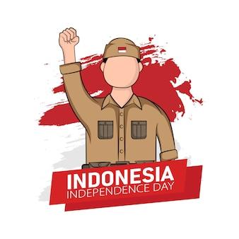 インドネシアの独立記念日のグリーティングカードのコンセプトの手描きイラスト。