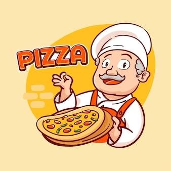 Рисованной иллюстрации итальянской пиццы с шеф-поваром