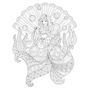 Hand drawn illustration of mermaid in a seashell