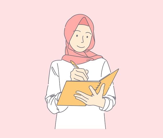 ペンとノートを持って喜んで笑ってメモを書き留めるイスラム教徒の女性の手描きイラスト
