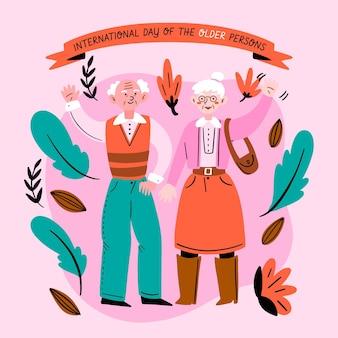 Рисованной иллюстрации пожилых людей