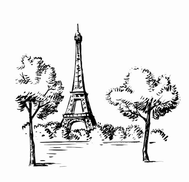 Рисованной иллюстрации парижа с эйфелевой башней
