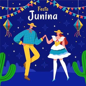 축제 junina를 축 하하는 사람들의 손으로 그린 그림