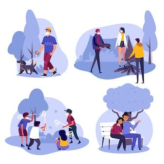 야외 활동을하는 사람들의 손으로 그린 그림
