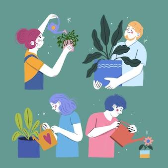 植物の世話をしている人々の手描きイラスト