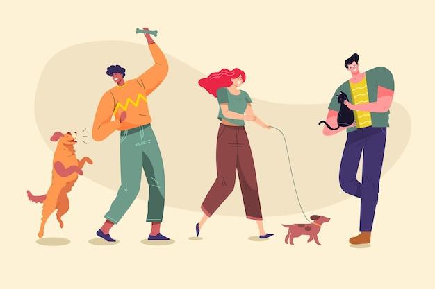 Рисованной иллюстрации людей с домашними животными