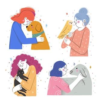 애완 동물을 가진 사람들의 손으로 그린 그림