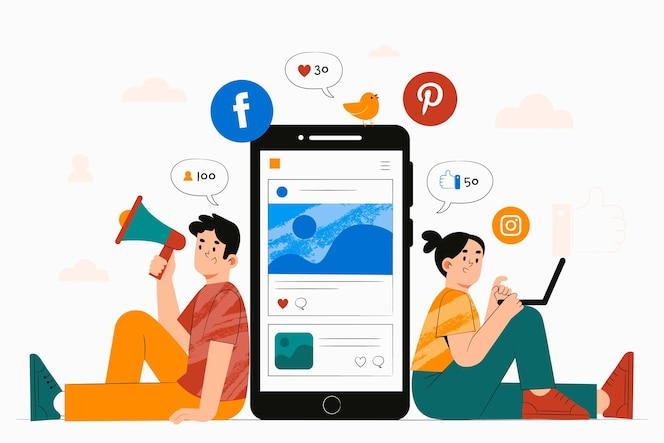 마케팅을위한 스마트 폰을 가진 사람들의 손으로 그린 그림