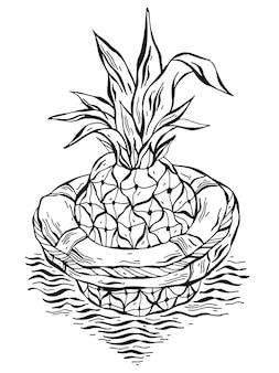 パイナップルフローティングの手描きイラスト