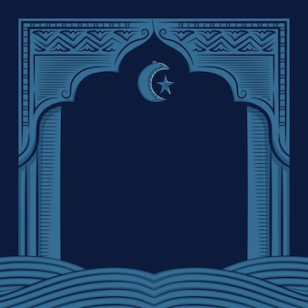 Рисованной иллюстрации рамадан карим поздравительной открытки.