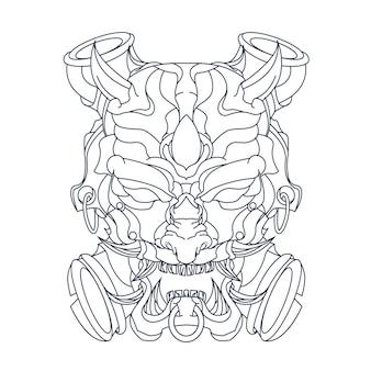 悪魔の顔の手描きイラスト