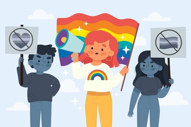 중지 동성애 공포증 개념의 손으로 그린 그림