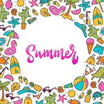 夏の要素と円フレームのレタリングの手描きイラスト