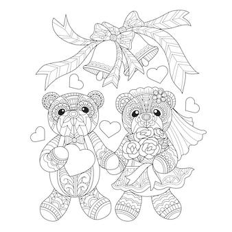 Hand drawn illustration of Teddy bears marry