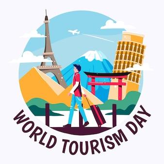 Рисованной иллюстрации туриста в разных местах