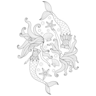 Hand drawn illustration of two mermaids in zentangle style