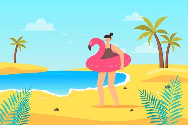 フラミンゴ浮き輪を持つ女性の手描きイラスト