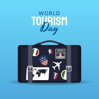 Рисованной иллюстрации концепции всемирного дня туризма.