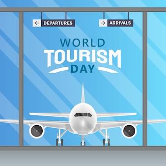 세계 관광의 날 개념의 손으로 그린 그림입니다.