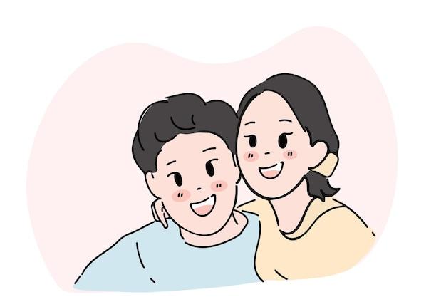 젊은 남자와 여자가 행복하게 껴안은 미소의 손으로 그린 그림