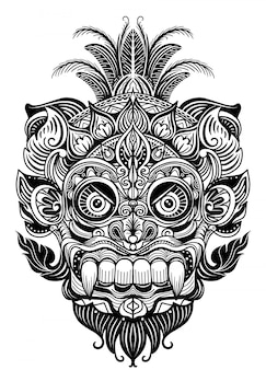 Hand drawn illustration. ornamental element. tattoo devil mask , warrior tribal mask vector