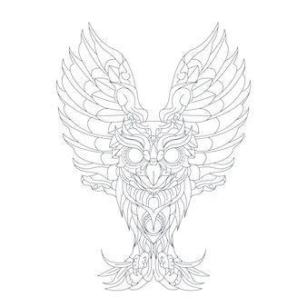 Hand drawn illustration of owl ornament