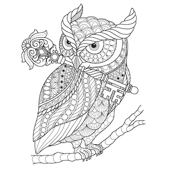 Hand drawn illustration of owl in zentangle style