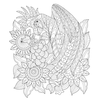 Hand drawn illustration of parrot and sunflower