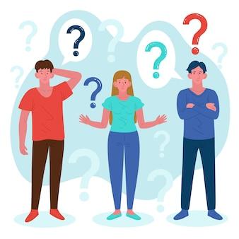 Рисованной иллюстрации люди задают вопросы