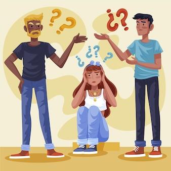 Illustrazione disegnata a mano persone che fanno domande